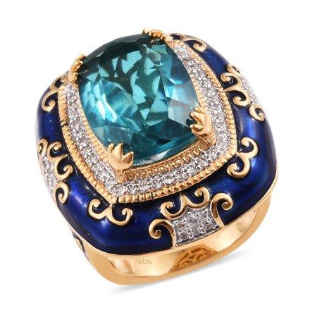 Quartz Vermeil Ring - Promise Ring Sterling Silver Vermeil Yellow Gold Capri Quartz Size 6