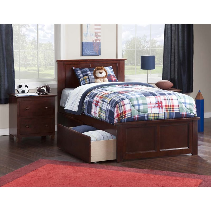 atlantic furniture madison twin xl storage platform bed in walnut. Black Bedroom Furniture Sets. Home Design Ideas