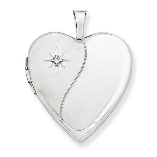 14K 0.8IN White Gold Polished Satin w/ Diamond Heart Locket (0.9IN x 0.7IN )