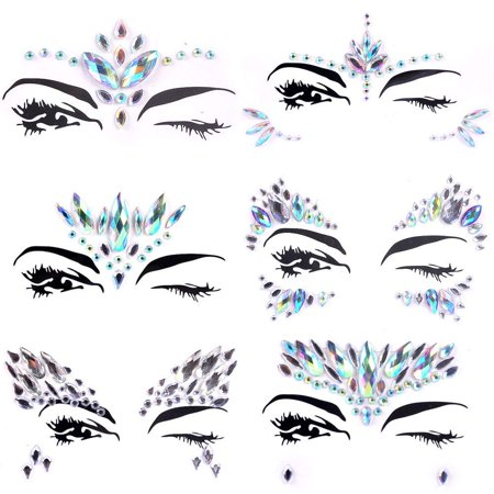 Face Gems Rhinestones, Lady Up 6 PCS Face Jewels Tattoo Set Mermaid Gem Rhinestones Eyes Body Stickers Bindi Crystals Glitter for Rave Party Festival (Skeleton Face Tatoo)