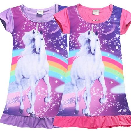 Pretty Kids Girls Unicorn T-shirt Dress Nightwear Nightdress Pajamas Nightie Dress Sz 4-10Y
