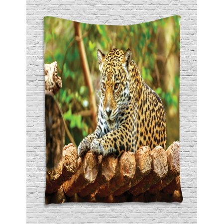 Zoo Tapestry, Jaguar on Wood Floor Wildlife Animals Feline Big Cat ...
