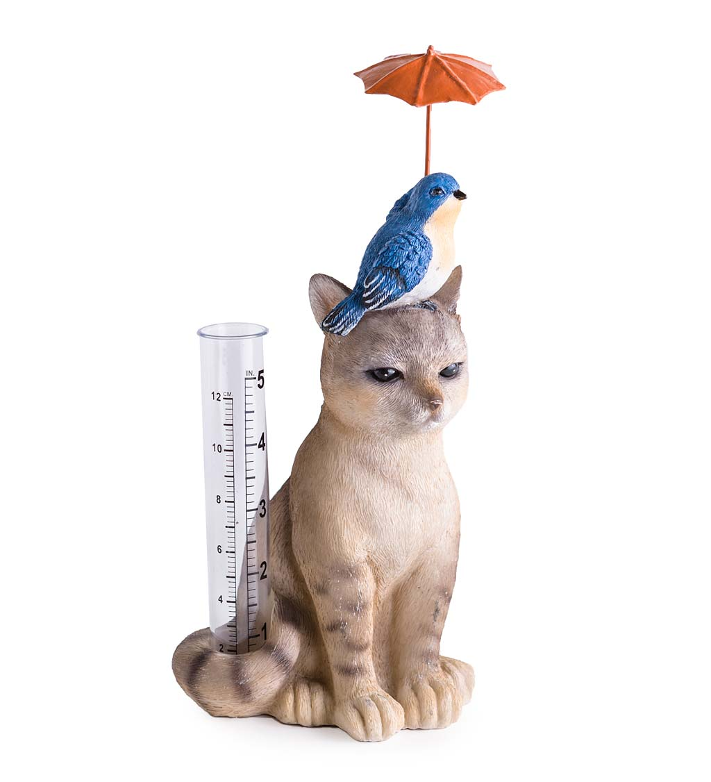 "Cat and Bird Fanciful and Functional Garden Rain Gauge, 4.33"" L x 9.45"" H by Problem Solvers"