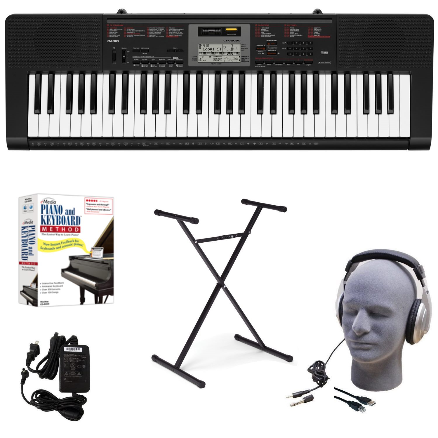 Casio CTK-2090 EDP 61-Key Educational Pack with Power Supply, Stand, Headphones, USB Cable, and Instructional Software