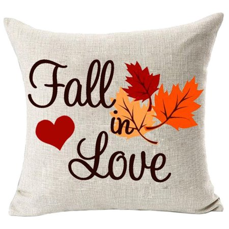 Womail Home Decor Fall in Love Cotton Linen Pillow Covers 18x18inch Wedding Gift