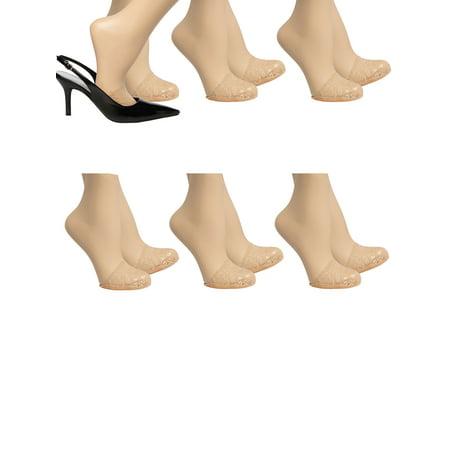 Easy Spirit (6 Pack) Toe Cover Womens Socks Nylon Lace No Show Socks Women Non Slip Socks With Grips