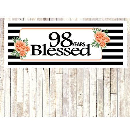Number 98- 98th Birthday Anniversary Party Blessed Years Wall Decoration Banner 10 x - Decorations For Anniversary Parties Ideas