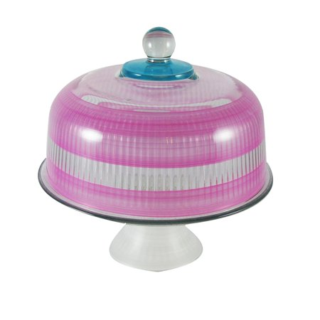 Pink Retro Stripe Hand Painted Glass Convertible Cake Dome 11""