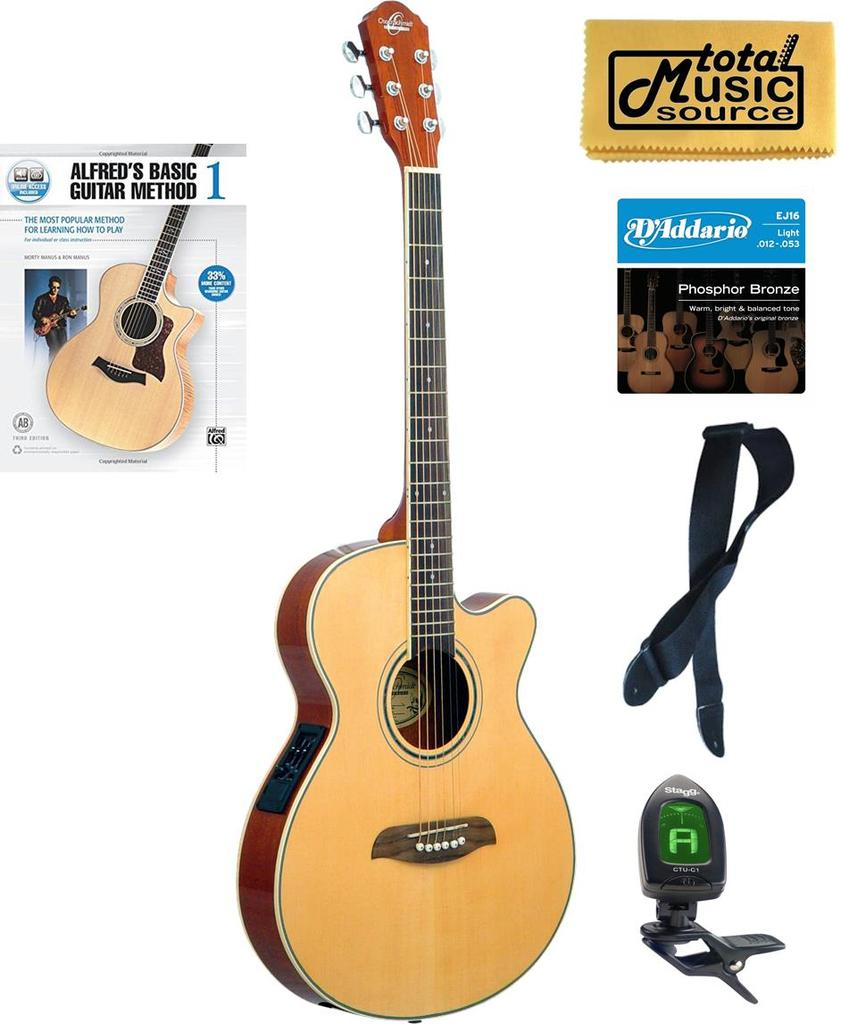 oscar schmidt folk style acoustic electric guitar spruce top og8cen book bundle og8cen compbk. Black Bedroom Furniture Sets. Home Design Ideas