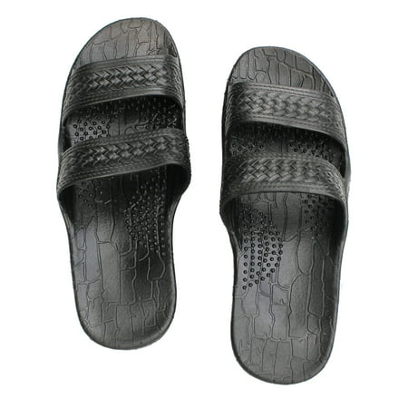 d1ce60a729de26 SURFWARE HAWAIIAN - Black Rubber Slide on Sandal Slippers Double Strap
