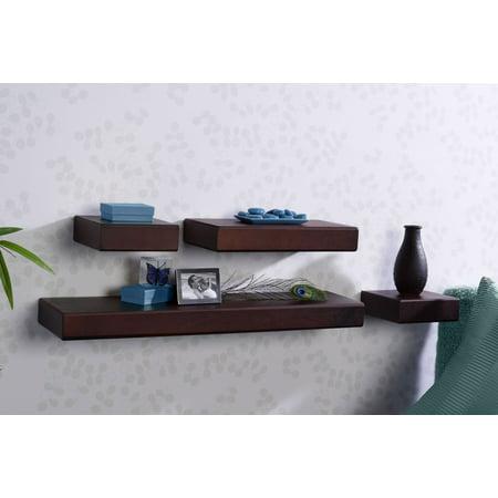 4 Piece Shell Set - Melannco Chunky Ledges Shelves, Set of 4, Espresso