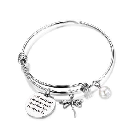 Inspirational Jewelry Until You Spread Your Wings You'll Never Know How Far You Can Fly Dragonfly Charm Bracelet Encouragement Gifts For Her ()