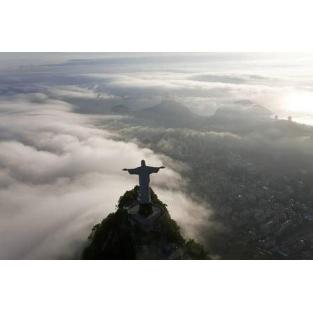 Art Deco Statue of Jesus, Corcovado Mountain, Rio de Janeiro, Brazil Print Wall Art By Peter Adams