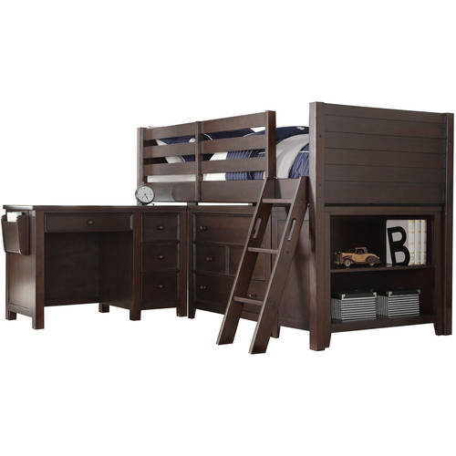 Acme Lacey Twin Loft Bed with Desk, Chest, and Bookcase, Espresso