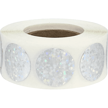 Color Coding Labels Silver Holographic Sparkle Round Circle Dots 3/4 Inch 500 Total Adhesive Stickers