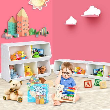 Gymax 2 Set Kids Toy Box Storage Cabinet Flexible Stackable Bookshelf Rack Organizer