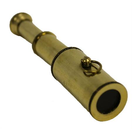"""3"""" BRASS TELESCOPE - Small Handheld Key Chain - PIRATE"""