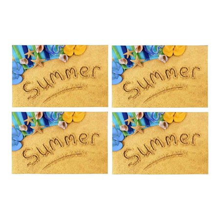 MKHERT Tropical Summer Beach with Flip Flops Starfish Placemats Table Mats for Dining Room Kitchen Table Decoration 12x18 inch,Set of 4 - Flop Of The Pops