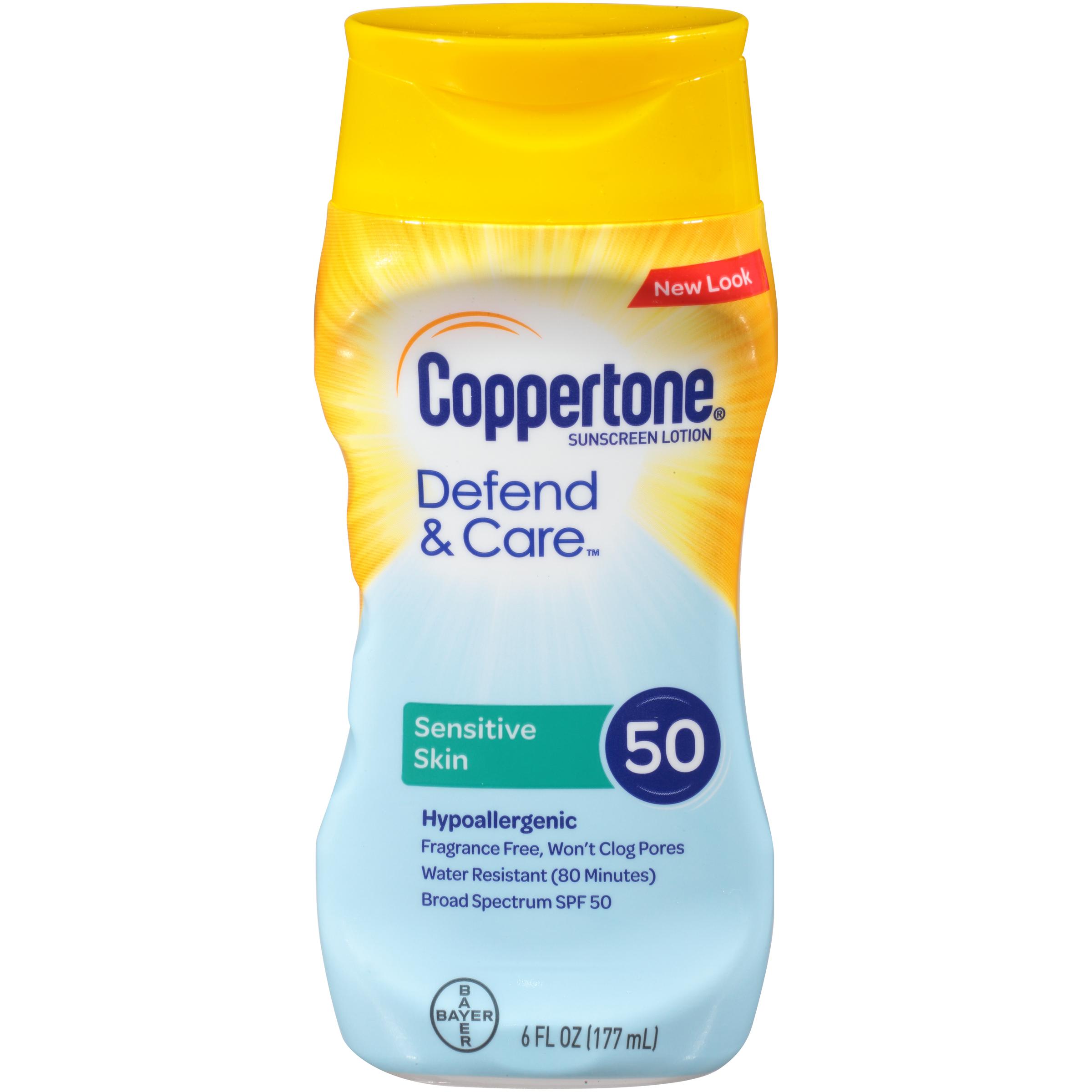Coppertone Defend & Care Sensitive Skin Sunscreen SPF 50 Lotion 6 oz