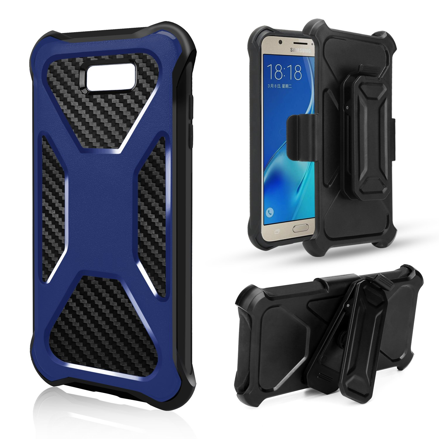 LG X Power 2, X Charge, Fiesta, Fiesta 2, K10 Power Case, Rugged Slim Carbon Fiber Holster Combo Clip Cover - Blue