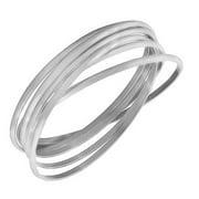 EDFORCE Stainless Steel Silver-Tone Interlocked Six Bangle Bracelets Set
