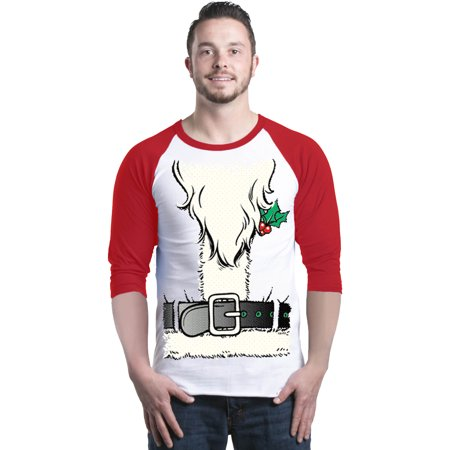 Shop4Ever Men's Santa Beard Christmas Costume Holiday Raglan Baseball