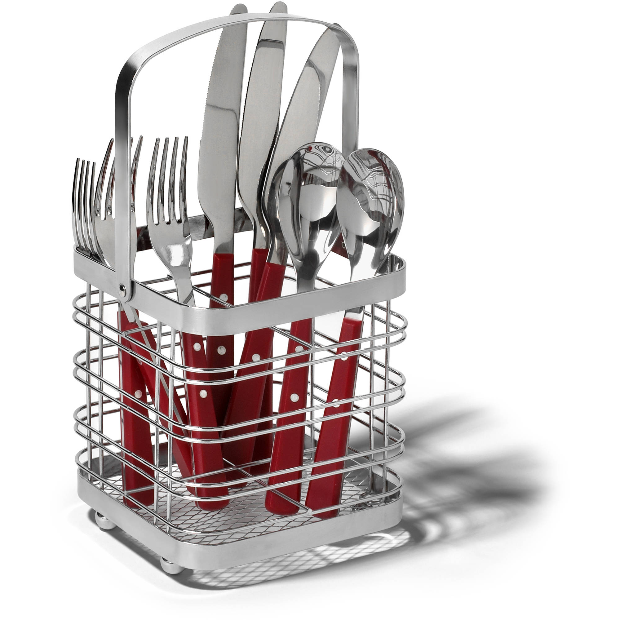 Spectrum Pantry Works Cube Silverware Caddy, Chrome