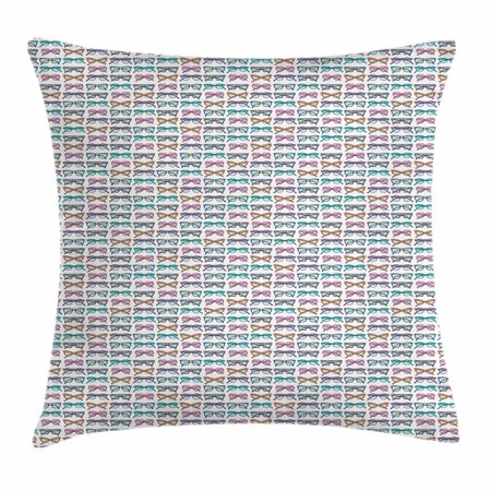 Colorful Throw Pillow Cushion Cover, Eighties Style Retro Glasses with Many Different Vintage Female Fashion Pattern, Decorative Square Accent Pillow Case, 18 X 18 Inches, Multicolor, by Ambesonne - Eighties Glasses