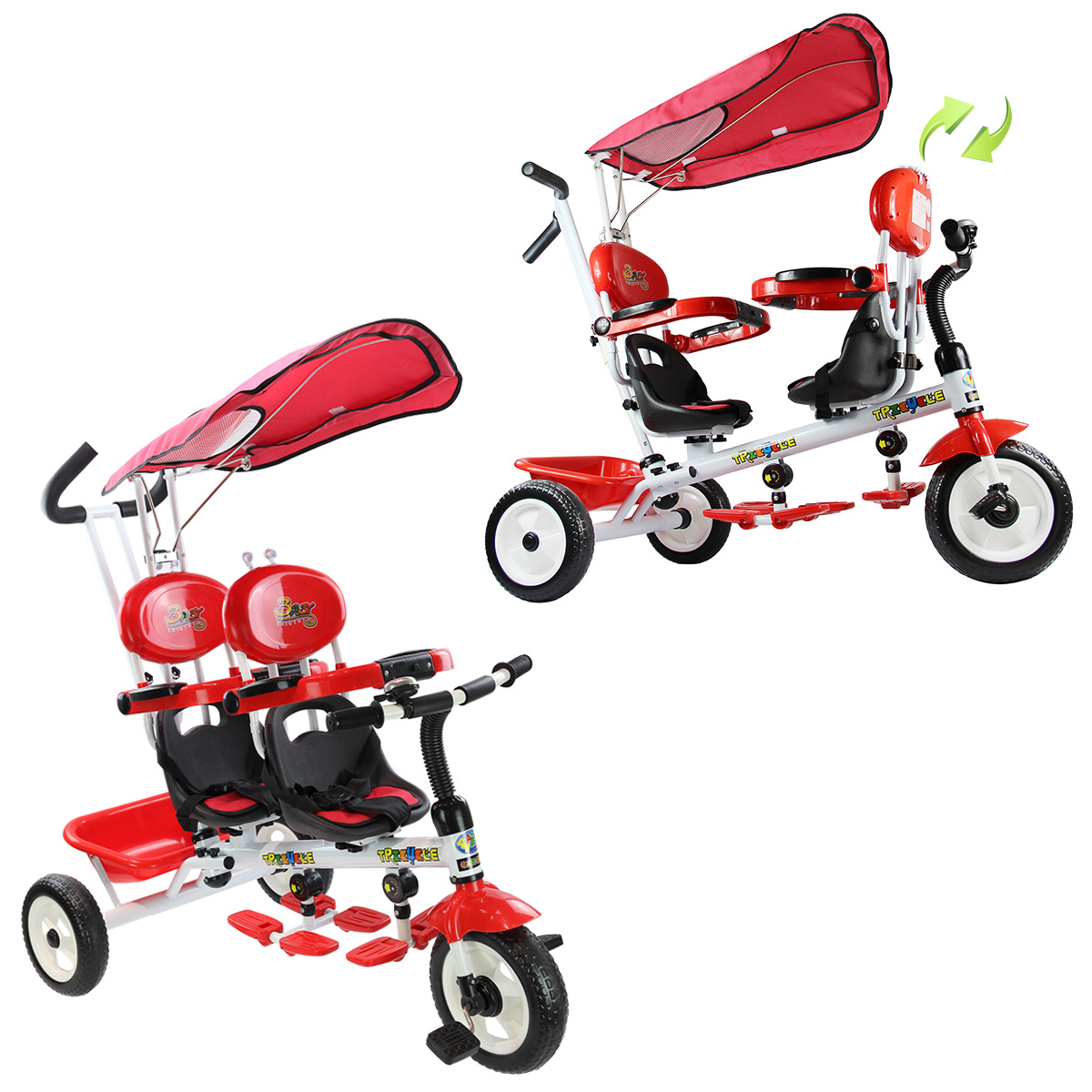 Costway 4 In 1 Twins Kids Baby Stroller Tricycle Safety Double Rotatable Seat w/ Basket Red