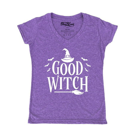 Life Is Good Halloween Shirt (Shop4Ever Women's Good Witch Halloween Costume Slim Fit V-Neck)