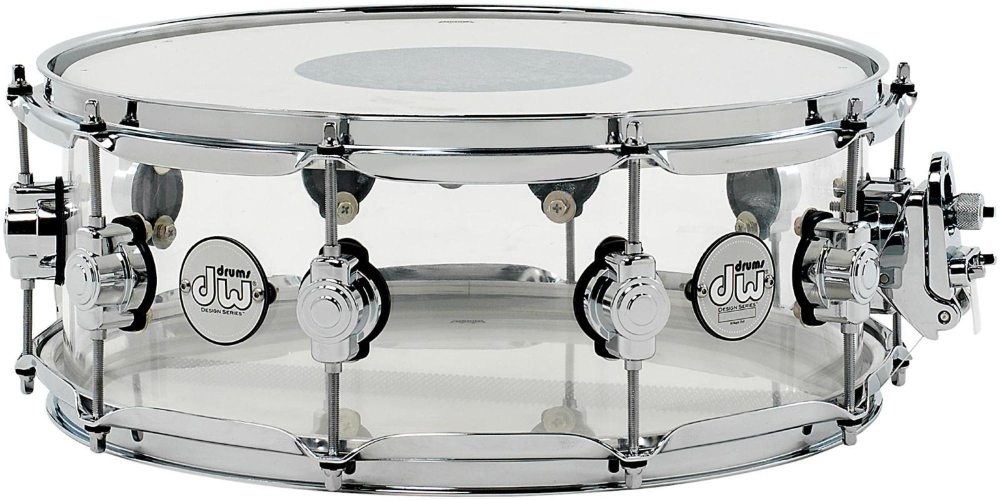 DW Design Series Acrylic Snare Drum with Chrome Hardware 14 x 5.5 in. Clear by DW