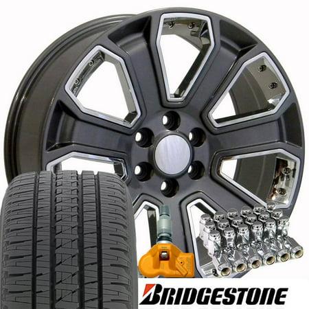 OE Wheels 22 Inch | Fit Chevy Silverado Tahoe | GMC Sierra Yukon | Cadillac Escalade | CV93 Gunmetal Chrome 22x9 Rims, Bridgestone Dueler Alenza HL Tires, Lugs, TPMS | Hollander 5661 -