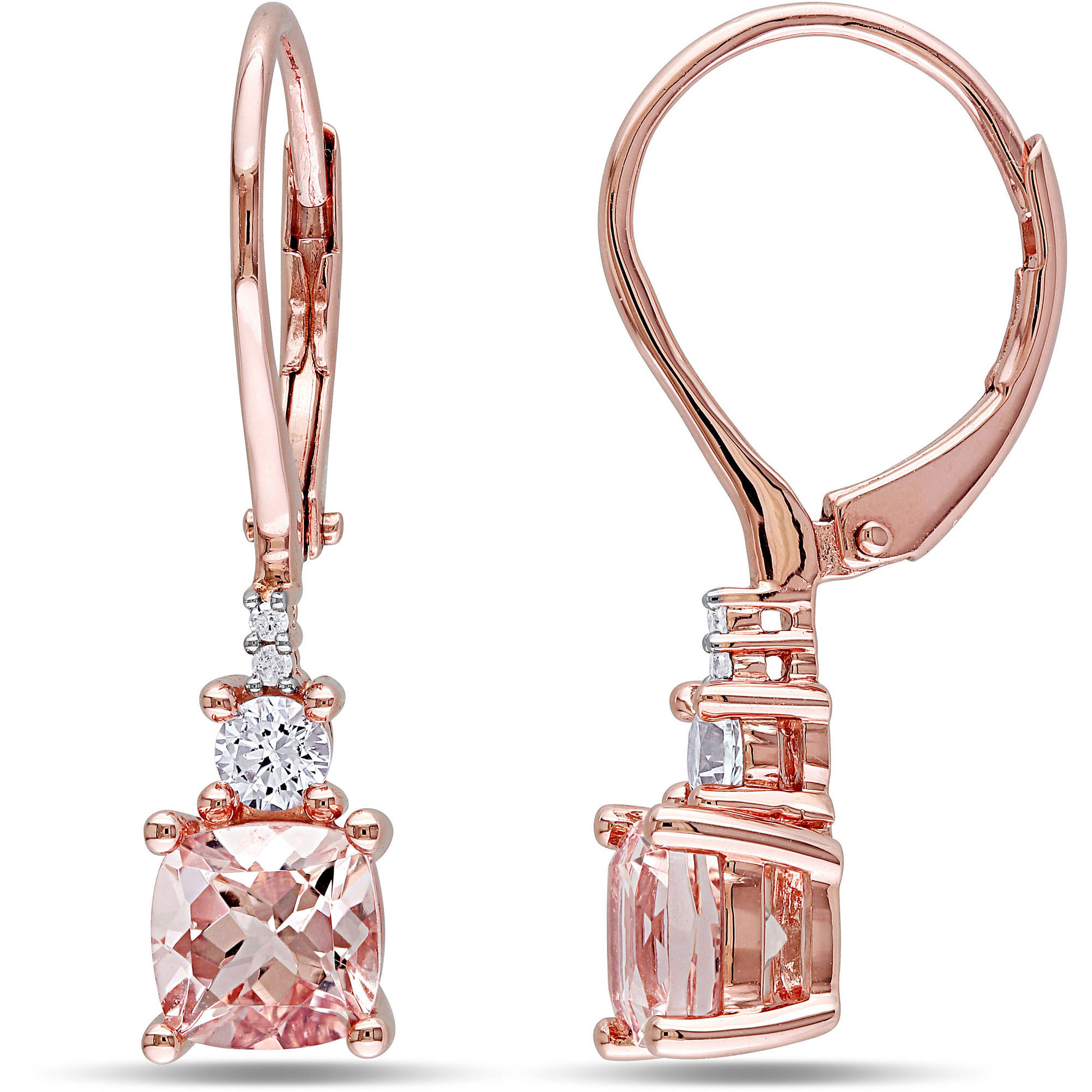 2-1/5 Carat T.G.W. Morganite and Created White Sapphire with Diamond Accent Pink Rhodium-Plated Sterling Silver Dangle Earrings
