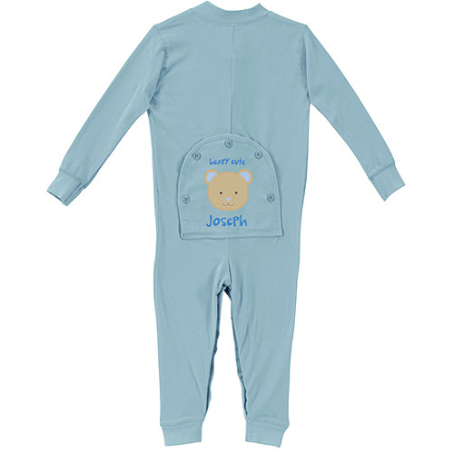 Sandra Magsamen Personalized Baby Boy Beary Cute Baby Boy Long Johns, Light Blue
