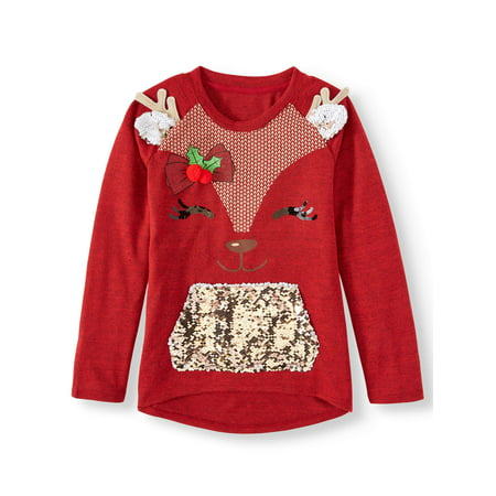 Holiday Time Sequin Pocket Christmas Sweater Knit Top (Little Girls, Big Girls & Plus) ()