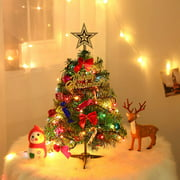 Coolmade Small Christmas Tree with Lights, Mini Desktop Decoration Tree for Home Office Shopping Bar