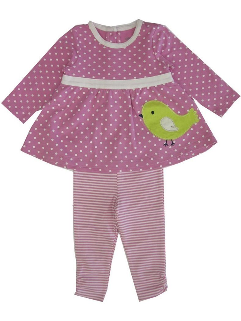 Little Me Little Girls Pink Green Chick Applique Stripe Leggings Set 2-4T