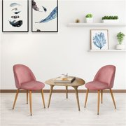 Set of 2 Mid Century Modern Upholstered Dining Chairs with Wooden Style Metal Legs in Pink Velvet