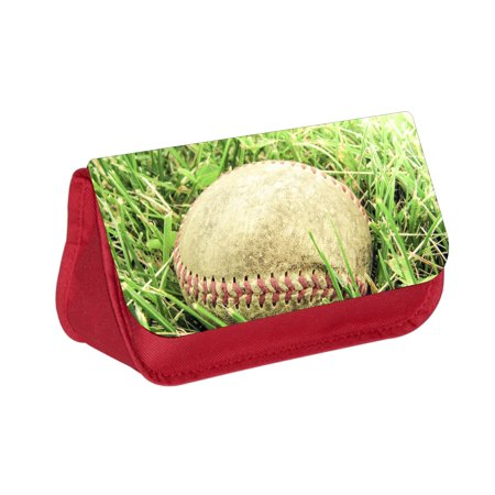 Baseball Pencils (Worn Out Baseball in the Grass - Girls / Boys Red Pencil Case - Pencil Bag - with 2 Zippered)