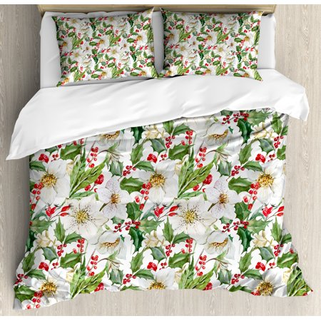 Watercolor Duvet Cover Set, Christmas Themed Floral Poinsettia Winter Inspirations Berries Leaf, Decorative Bedding Set with Pillow Shams, Vermilion Green Yellow, by Ambesonne ()