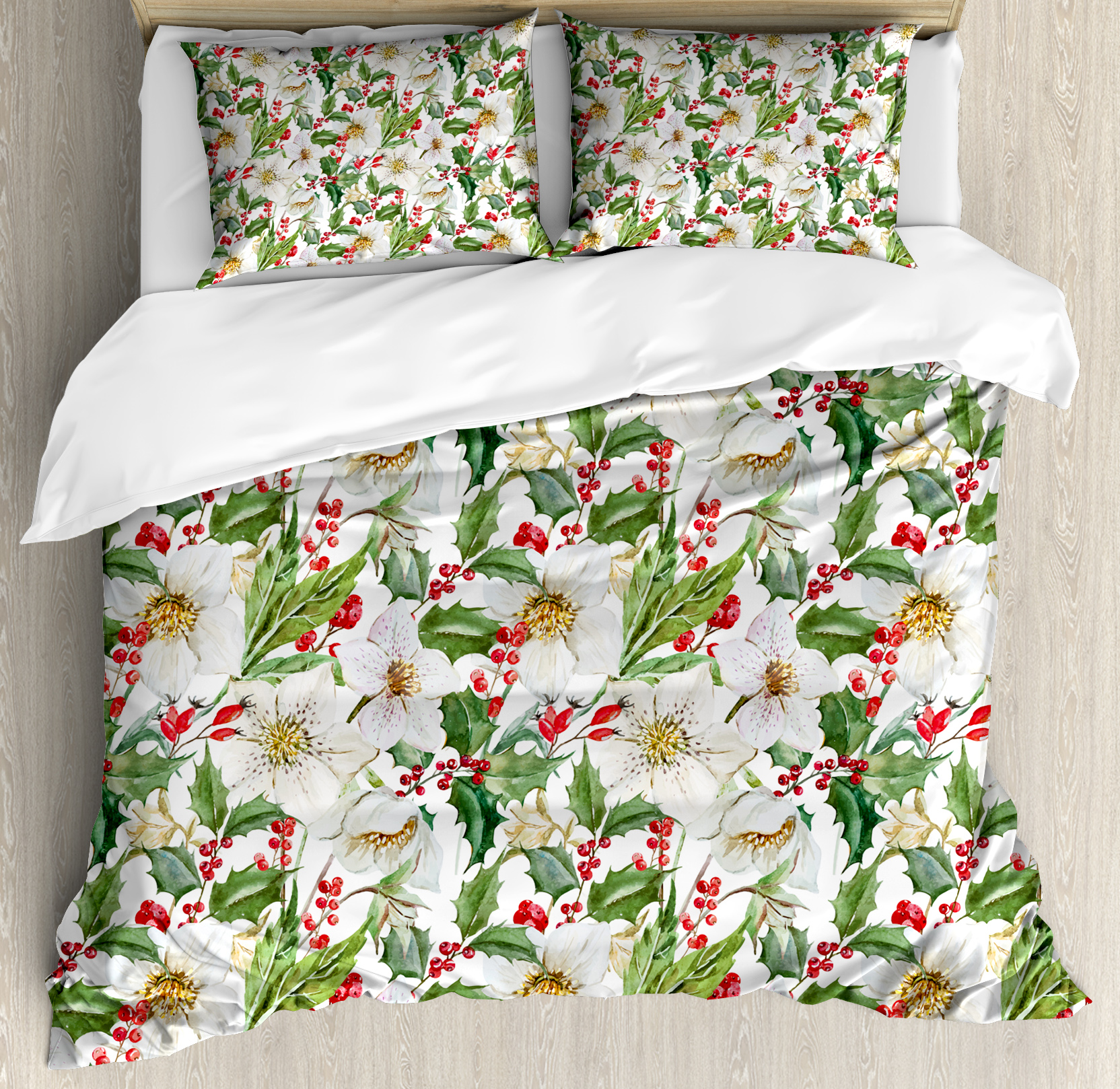 Watercolor Duvet Cover Set, Christmas Themed Floral Poinsettia Winter Inspirations Berries Leaf, Decorative Bedding Set with Pillow Shams, Vermilion Green Yellow, by Ambesonne