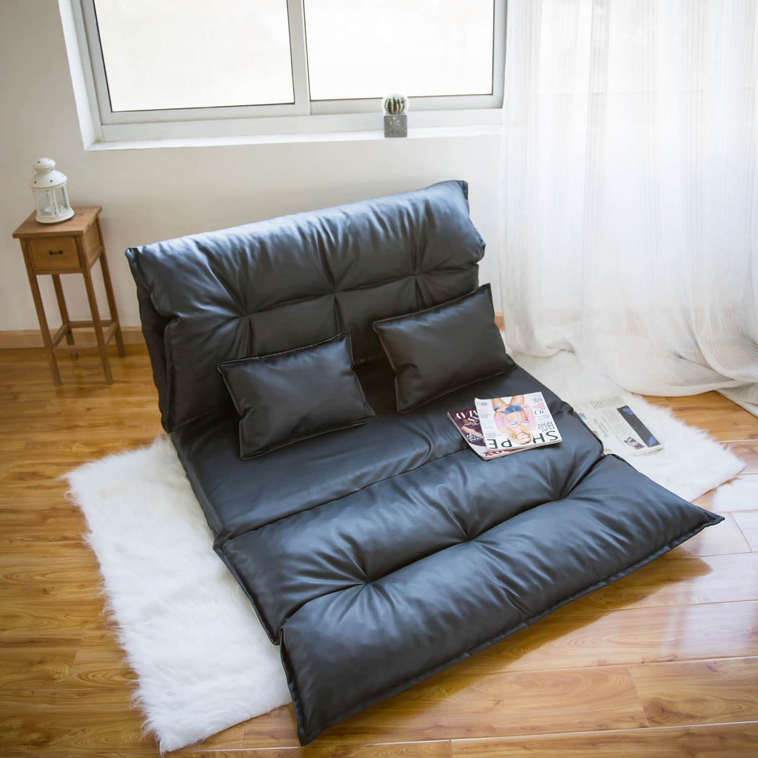 Super Kinbor Floor Sofa Pu Leather Foldable Modern Leisure Sofa Bed Video Gaming Sofa With Two Pillows Black Uwap Interior Chair Design Uwaporg