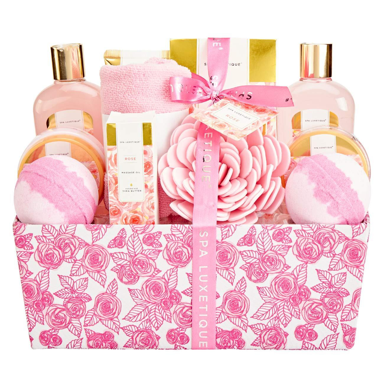 Spa Luxetique Bath Gift Basket Rose Spa Gift Baskets For Women Pamper Gift Set Gift Box For Women 12 Pcs Home Bath Set With Rose Massage Oil Bath Bomb Body Lotion Best