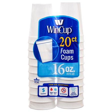 New 303959  Wincup Foam Cup 16 Oz 20 Ct (12-Pack) Plates Cheap Wholesale Discount Bulk Party Supplies Plates Accessories - Styrofoam Planes