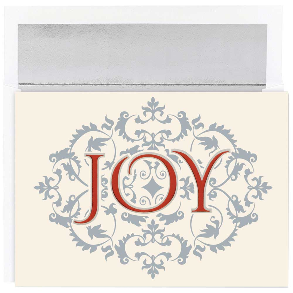 JAM Paper Christmas Card Set, Joy Christmas Cards, 16/pack