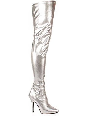 bb71af2cff78 Product Image 5 Inch Sexy Thigh Hi Boots Stretch Thigh Boot Silver Stretch High  Heel Boot