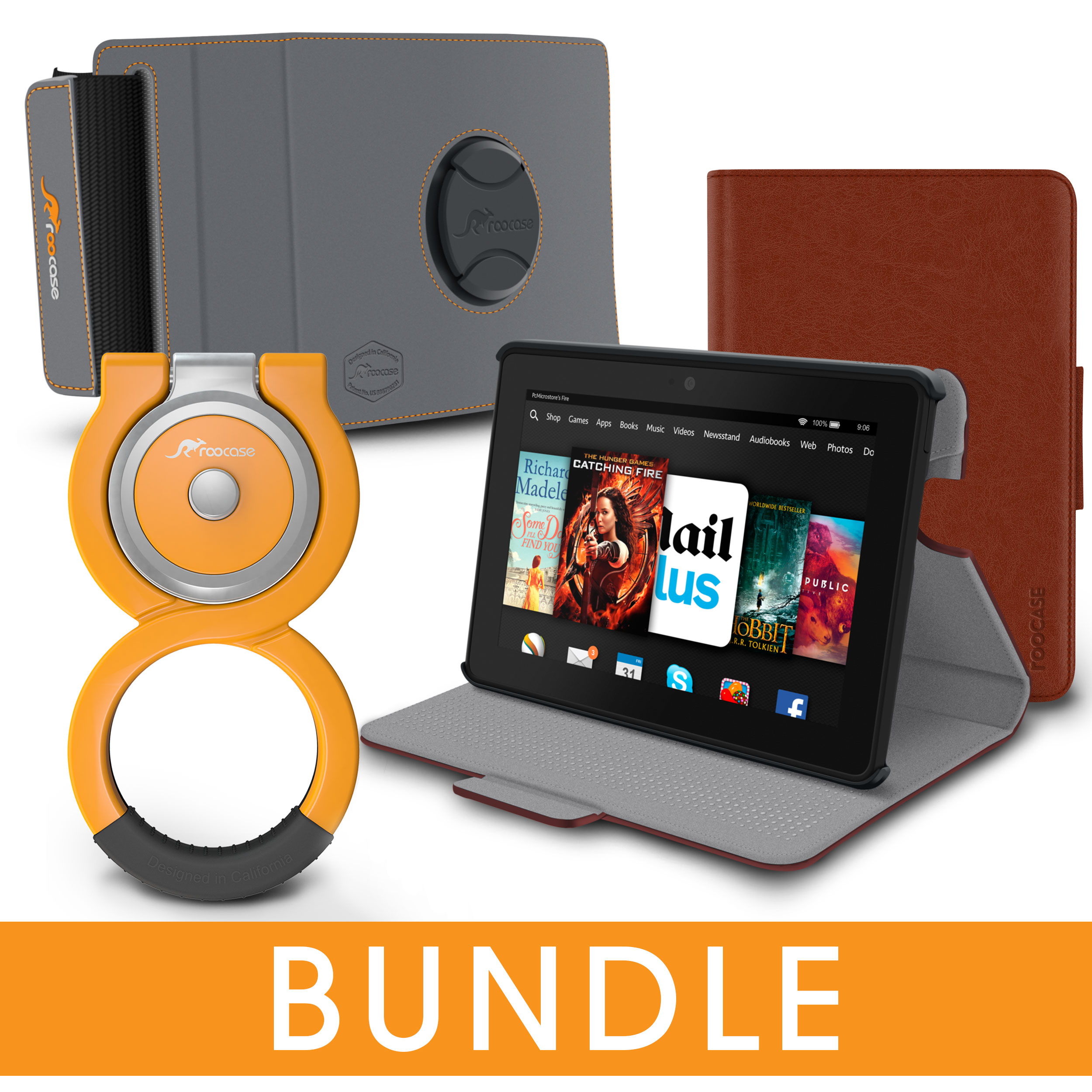 rooCASE Fire HDX 7 Orb Bundle, Folio Case Cover Stand for...
