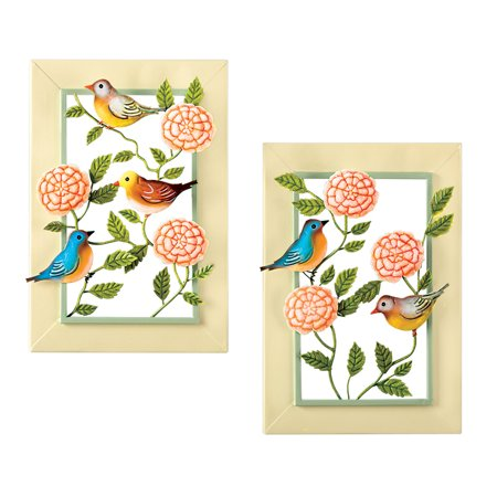 Birds & Blooms Spring Theme Metal Wall Art Set - For Bedroom, Bath](Metal Bird Wall Decor)