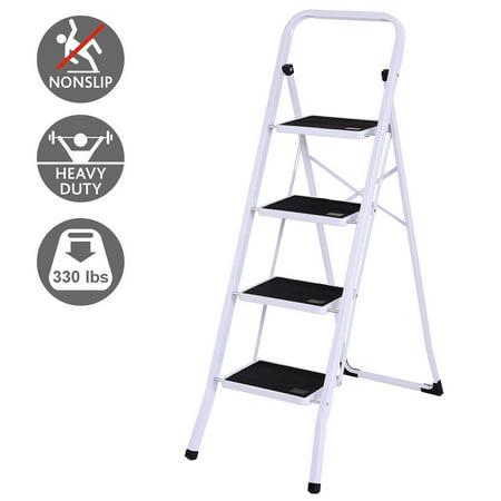 Gymax 4 Step Ladder Folding Steel Step Stool Anti-slip Heavy Duty with 330Lbs - Steel Folding Ladder