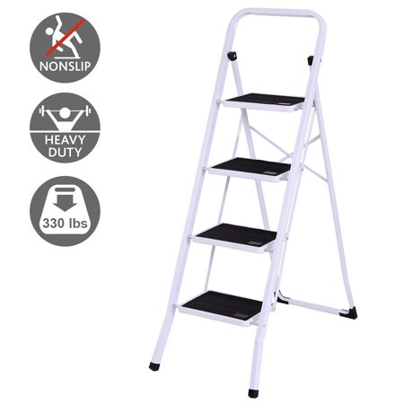 Gymax 4 Step Ladder Folding Steel Step Stool Anti Slip
